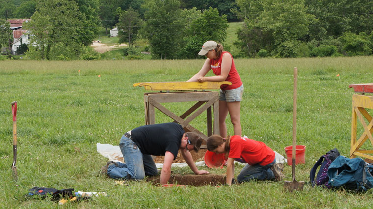 Students on a dig.